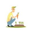 Guy Picking Carrots vector image vector image
