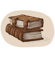 hand drawn sketch stack from two oldest books vector image vector image