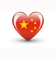 Heart-shaped icon with national flag of China vector image