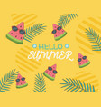 hello summer poster with watermelon characters vector image vector image