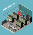 isometric colored datacenter composition vector image vector image