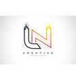 ln creative modern logo design with orange and vector image vector image