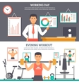 Man Daily Routine Banner Set vector image vector image