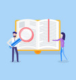 man with loupe and woman near page of book vector image vector image