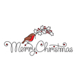 Merry christmas hand lettering with bullfinch vector image