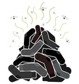Mount old dirty socks with flies vector image