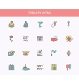 Outline web icons set - Party Birthday Holidays vector image vector image