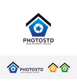 photo studio logo design vector image vector image