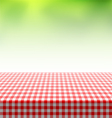 Picnic table covered with checkered tablecloth vector image vector image