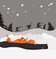 Red fox in the winter christmas forest and elves vector image