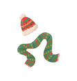 red hat with pompom and green scarf winter vector image