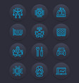 robotics mechanical engineering robots icons vector image