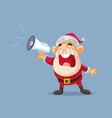 santa claus shouting announcement in megaphone vector image vector image