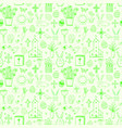 seamless pattern with green easter doodle sketches vector image vector image