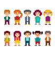 set different pixel art 8-bit people characters vector image vector image