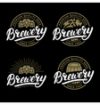 Set of Brewery hand written lettering logo label vector image vector image