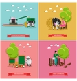 set of farming beekeeping harvesting vector image vector image