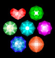 set of multi-colored classic round brilliant cut vector image