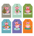 set of tags with christmas pig vector image vector image