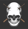skull impaled stick drum vector image vector image