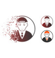 sparkle pixelated halftone rounded man portrait vector image vector image
