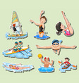 sticker set with men and women doing sports vector image vector image