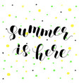 summer is here lettering vector image vector image