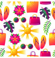 summer seamless pattern with colorful elements vector image
