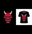 t-shirt print with japanese samurai horned mask vector image vector image