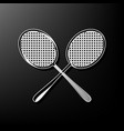 two tennis racket sign gray 3d printed vector image vector image