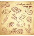 Vintage hand-drawn food set