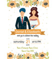 wedding invitation template with a happy bride vector image