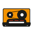 white background with tape cassette vector image vector image