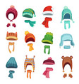 winter kids hat warm childrens hats and scarves vector image vector image