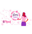 woman holding floral wreath happy women day 8 vector image vector image