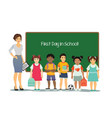 female teacher with kids of vector image