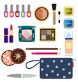 female cosmetics large set in a flat style vector image