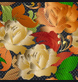 3d gold lace textured roses seamless pattern vector image