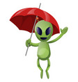 alien with umbrella on white background vector image