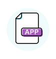 app file format extension color line icon vector image vector image
