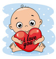 baby boy hugging a heart vector image