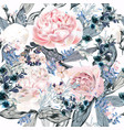 beautiful pattern with pink and white peony vector image