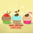 Birthday cupcake against a cyan background vector image vector image