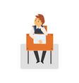 bored student sitting at desk in classroom vector image vector image