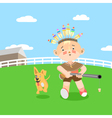 Boy playing in hunting vector image vector image