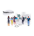 businesspeople holding puzzle parts problem vector image vector image