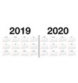 calendar 2019 and 2020 template design vector image vector image