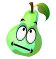 Cartoon pear face not in mood on white