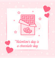 chocolate bar heart valentine card love text icon vector image vector image
