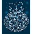 Christmas card with silhouette of decoration ball vector image